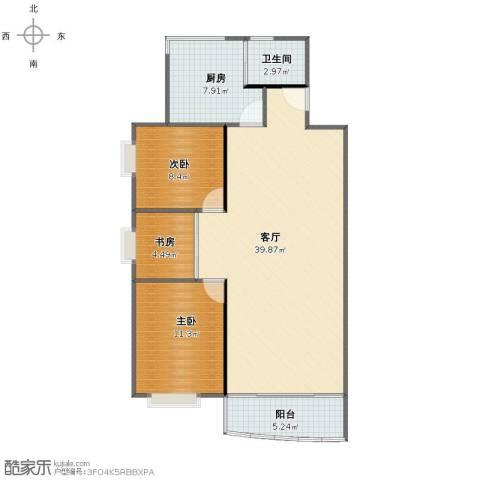 紫林居3室1厅1卫1厨88.00㎡户型图