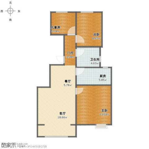 众美城3室2厅1卫1厨74.00㎡户型图
