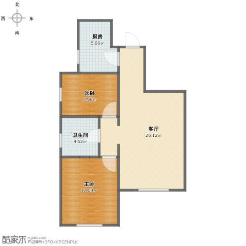 荣馨园2室1厅1卫1厨62.00㎡户型图