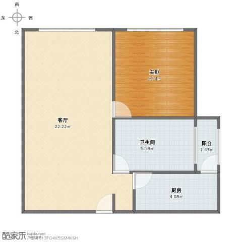 新凤城银座公寓1室1厅1卫1厨47.00㎡户型图