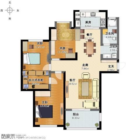泰和天成3室2厅1卫2厨129.00㎡户型图
