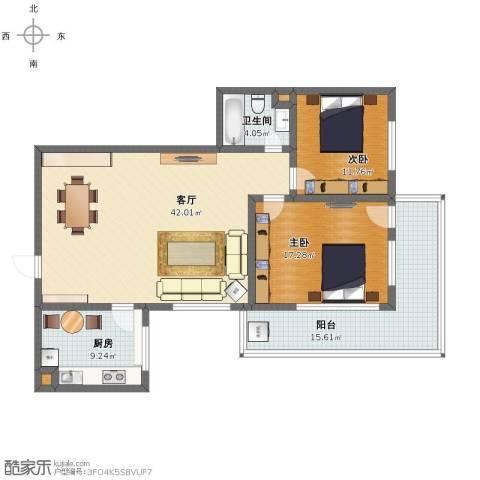金泰花园2室1厅1卫1厨120.00㎡户型图