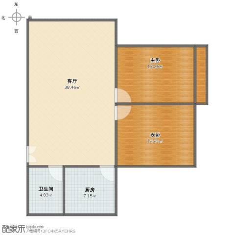 和泰花园2室1厅1卫1厨87.00㎡户型图