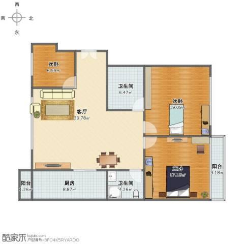 和泰花园3室1厅1卫2厨117.00㎡户型图