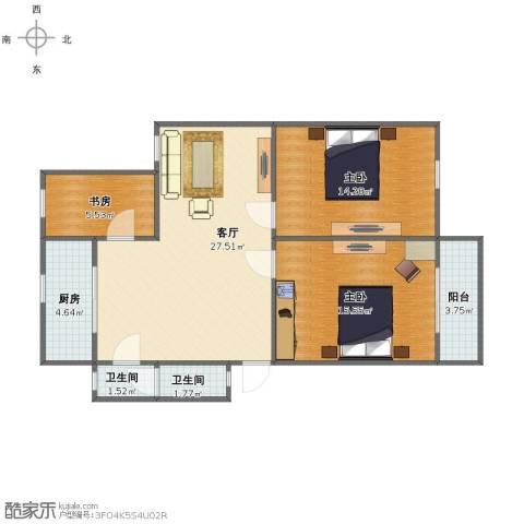 学府人家2期3室1厅1卫2厨83.00㎡户型图