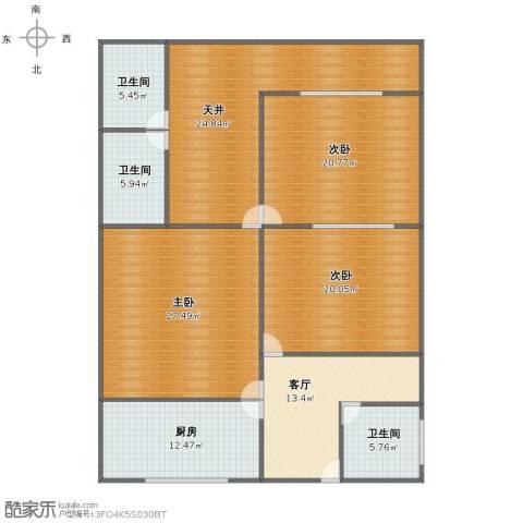 威宁小区3室1厅1卫3厨148.00㎡户型图