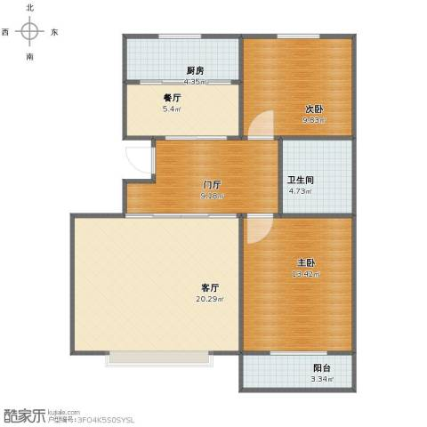 世纪华庭二期2室2厅1卫1厨79.00㎡户型图