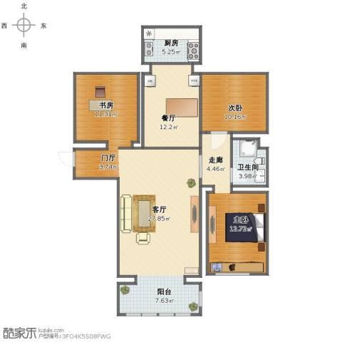 金地家园3室2厅1卫1厨111.00㎡户型图