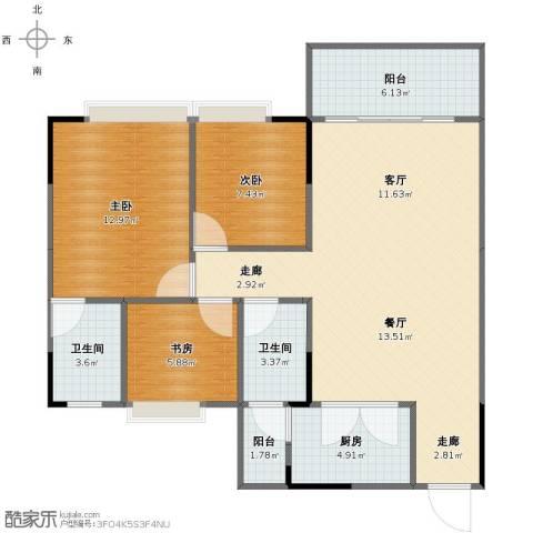 金田花园3室2厅1卫2厨86.00㎡户型图