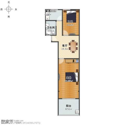 贝尔新村2室1厅1卫1厨71.00㎡户型图