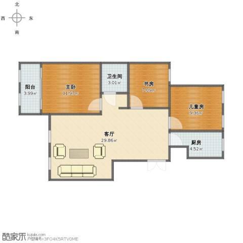 山景御园3室1厅1卫1厨78.00㎡户型图