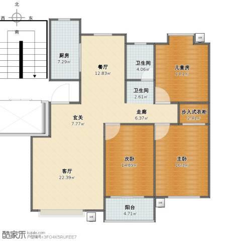 宜居园3室2厅1卫2厨127.00㎡户型图