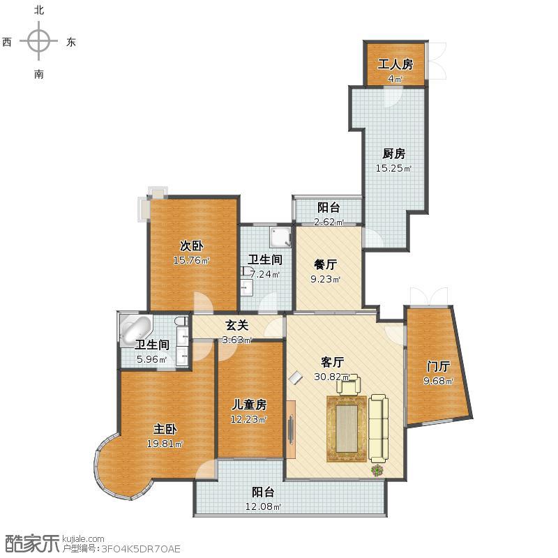 新家套内面积167.44平米(不包括工人房)