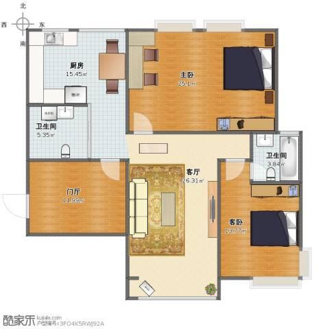 格林生活坊五期2室1厅1卫2厨111.00㎡户型图
