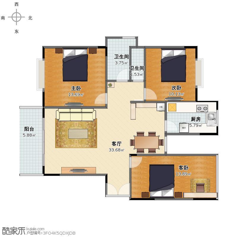 客厅、餐厅、厨卫造型设计户型图