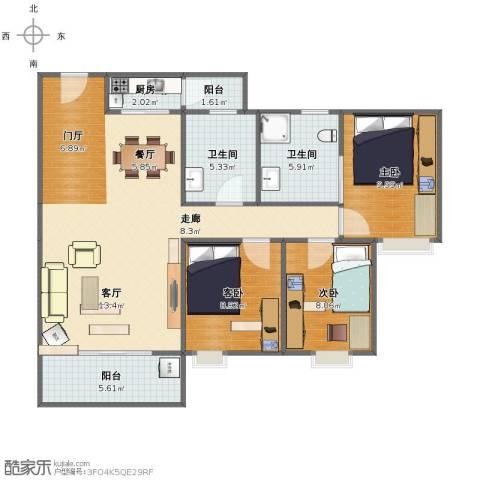 市桥南绿庭雅苑3室2厅1卫2厨91.00㎡户型图