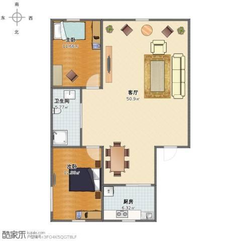 天福新城2室1厅1卫1厨95.00㎡户型图