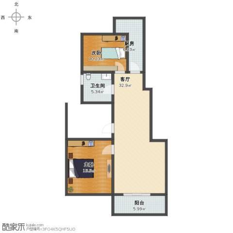 天地新城2室1厅1卫1厨90.00㎡户型图
