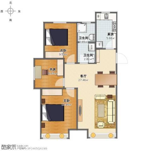 中国铁建 青秀蓝湾3室1厅1卫2厨76.00㎡户型图