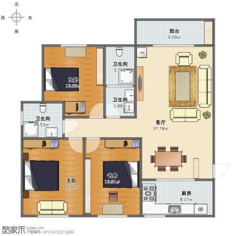 阳光新城3室1厅1卫3厨116.00㎡户型图