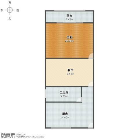 中山北路1321弄小区1室1厅1卫1厨104.00㎡户型图