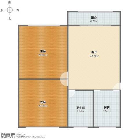 金虹苑2室1厅1卫1厨117.00㎡户型图