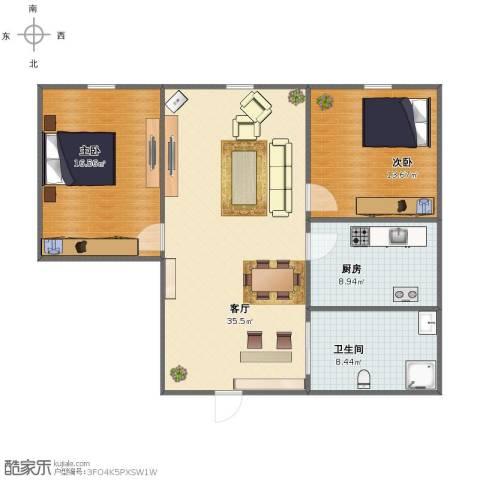 博达雅居2室1厅1卫1厨90.00㎡户型图
