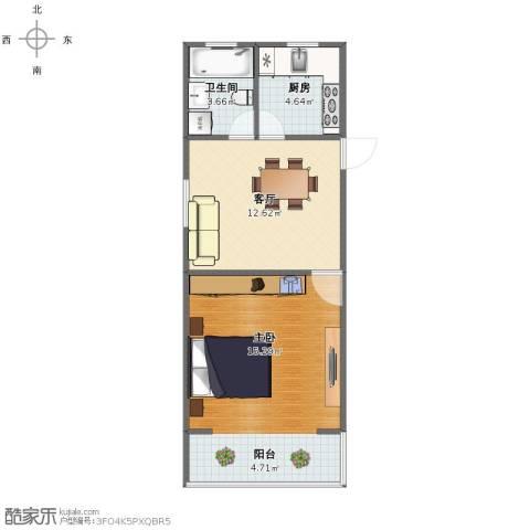 淞南七村1室1厅1卫1厨46.00㎡户型图