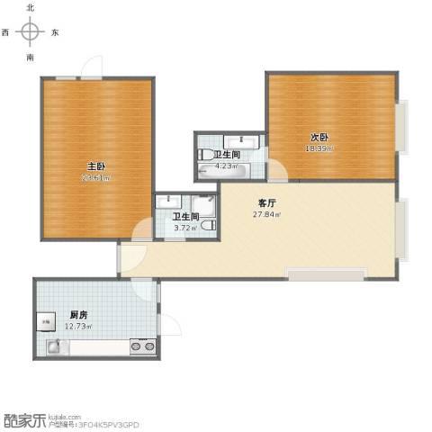 阳光100国际公寓2室1厅1卫2厨100.17㎡户型图