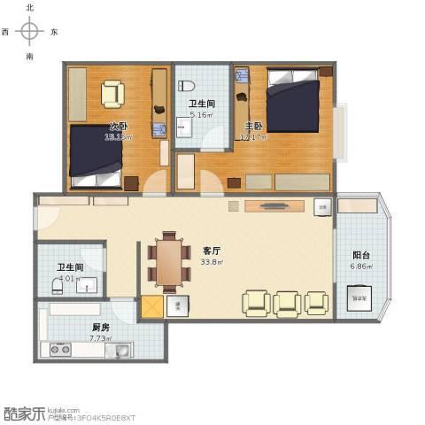 颐馨花园2室1厅1卫2厨99.00㎡户型图