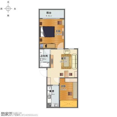 恒大华城东林苑2室1厅1卫1厨64.00㎡户型图