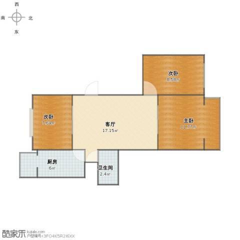 定安西里3室1厅1卫1厨56.00㎡户型图