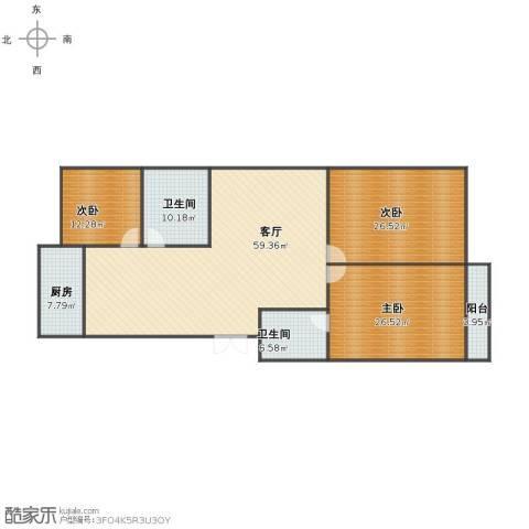 龙鼎花园3室1厅1卫2厨165.00㎡户型图