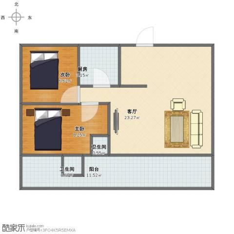 雅居园2室1厅1卫2厨61.00㎡户型图