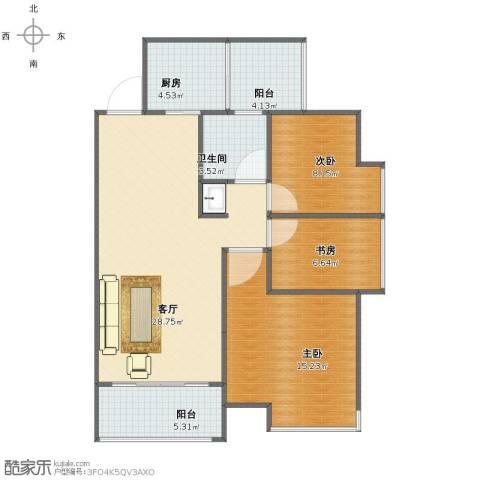 兰亭熙园3室1厅1卫1厨85.00㎡户型图