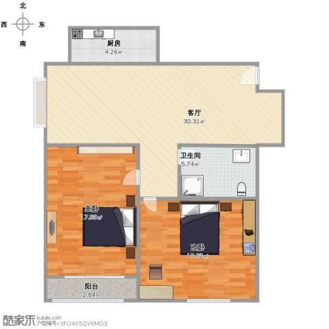 嘉天国际2室1厅1卫1厨84.00㎡户型图