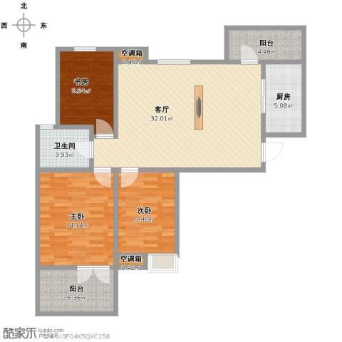 王子公馆3室1厅1卫1厨96.00㎡户型图
