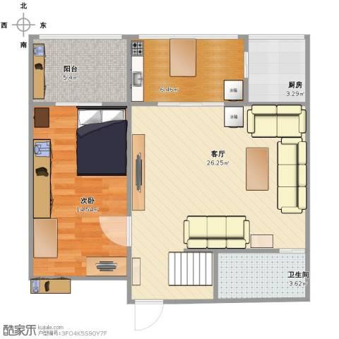 培新街乙5号院1室1厅1卫1厨64.00㎡户型图