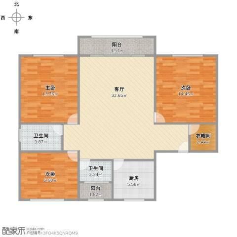 帝豪苑3室1厅1卫2厨98.00㎡户型图
