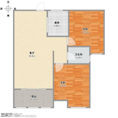 中天锦庭2室1厅1卫1厨77.00㎡户型图