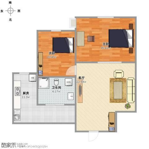 紫金城三期2室1厅1卫1厨72.00㎡户型图