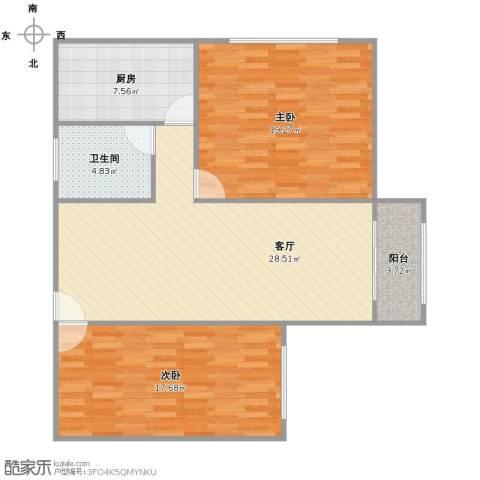 东晖花苑2室1厅1卫1厨87.00㎡户型图