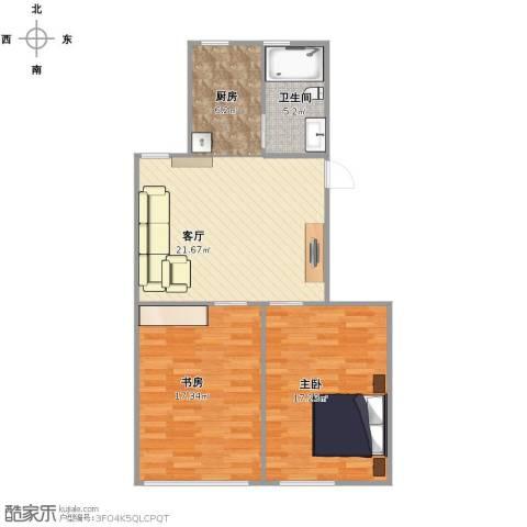 控江绿苑2室1厅1卫1厨72.00㎡户型图