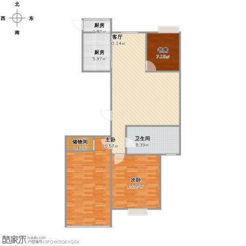 高新花园二期3室1厅2卫1厨99.00㎡户型图