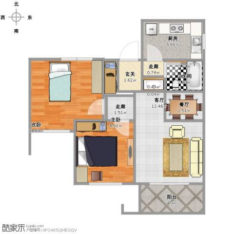 城建琥珀五环城2室2厅1卫1厨59.00㎡户型图