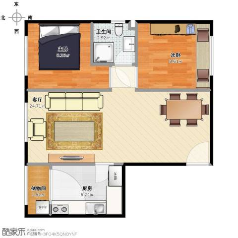 金泰丽富嘉园2室1厅1卫1厨57.00㎡户型图