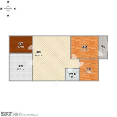 凤凰山庄3室1厅1卫1厨112.00㎡户型图