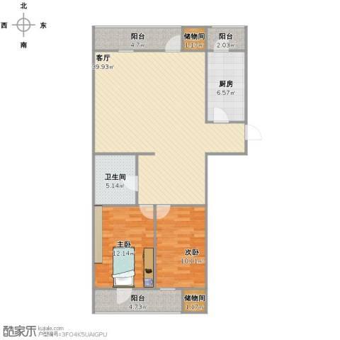 梨园100号院2室1厅1卫1厨95.00㎡户型图