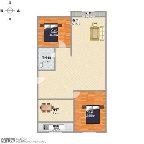 绿景嘉园2室2厅1卫1厨99.00㎡户型图
