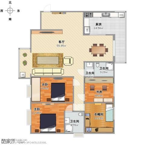 枫林.和平花园3室1厅1卫3厨133.00㎡户型图